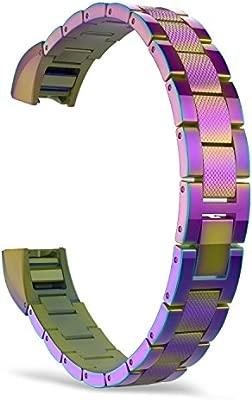 MoKo Fitbit Alta/Alta HR Correa - Universal Reemplazo SmartWatch Band de Reloj de Acero Inoxidable/Hebilla Doblable Accesorios - Multicolor