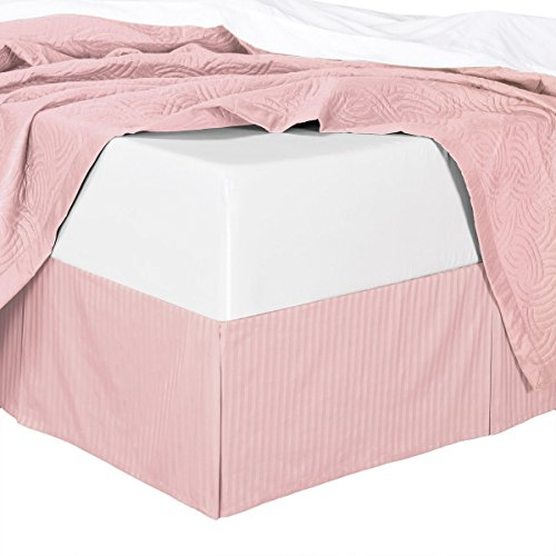 300TC Cotton Stripes Blush Twin Extra Long ( Twin XL ) Size Pleated Tailored Bed Skirt with 15 Inches Drop and Split Corners