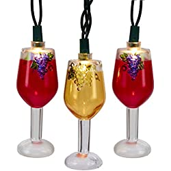 Pack of 10 Tuscan Winery Wine Glass Light Set- Red and Golden