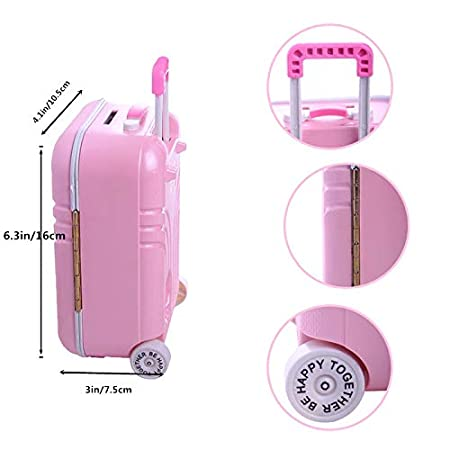 UUsave 5Pcs Travel Set Suitcase 18 Doll Pink Suitcase White T-shirt Pink Jeans Camera Sunglasses Doll Backpack Bag for 18 inch American Girl Doll