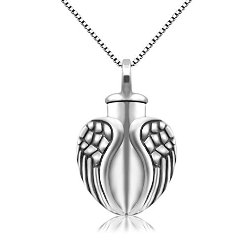 BEILIN Angel Wings Cremation Jewelry 925 Sterling Silver Urn Necklace for Ashes