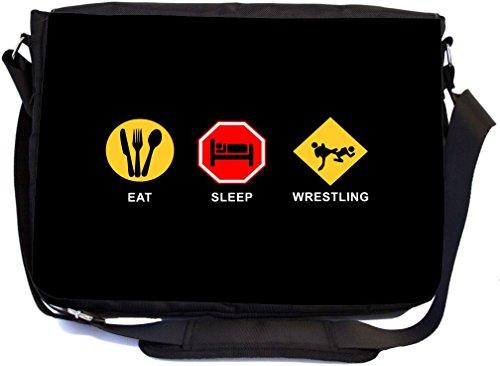 Rikki Knight Eat Sleep Wrestling - Premium 1600D Messenger Bag - School Bag Ideal for School or College (UKBK Design) by Rikki Knight