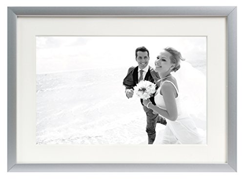 Golden State Art, Metal Wall Photo Frame Collection, Aluminum Silver Photo Frame with Real Glass (5x7-Table top) (Photo Art Real)