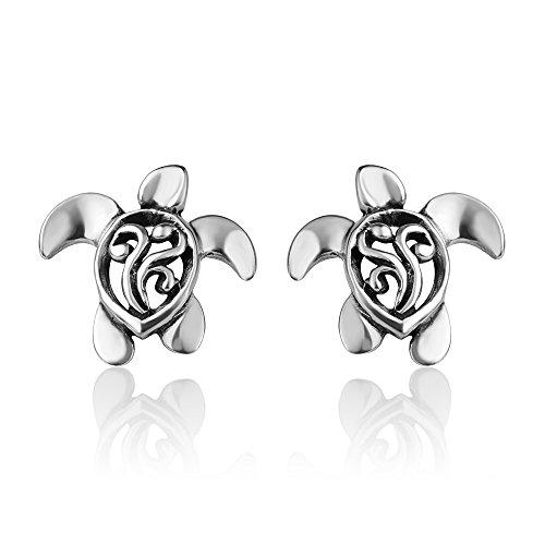 925 Oxidized Sterling Silver Vintage Small Little Filigree Sea Turtle Post Stud Earrings 14 mm ()