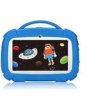 """Padgene Kinderen Tablet 7 inch Android 9.0 kindertablet leertablet met kinderbeveiligingsmodus IPS touchscreen dual camera WiFi siliconen hoes voor jongens en meisjes (7"""", blauw)"""