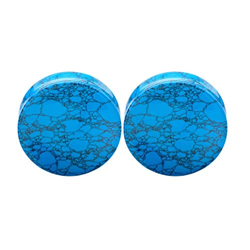 Braceus 1 Pair Turquoise Stone Ear Plugs Tunnel Ear Expander Body Piercing Jewelry Gift size 19mm (Blue (Plugs 19mm Body Jewelry)