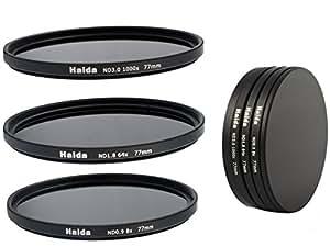 Timetrends24/Haida - Juego de filtros para cámara (ND8, ND64, ND1000, 77 mm, incluye funda para filtros y tapa para lente)