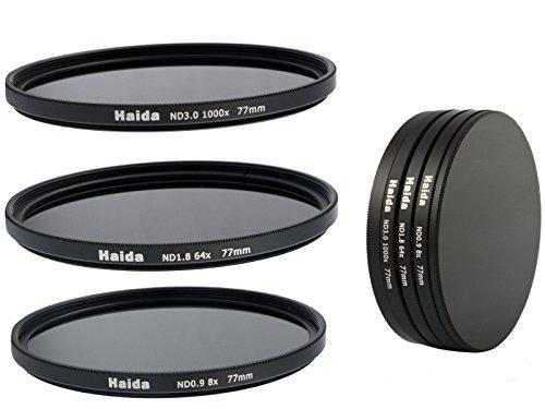Pro-Photoshop - Juego de filtros de densidad neutra NDO, ND64 y N1000 (77 mm, incluye estuche de proteccion y tapas)