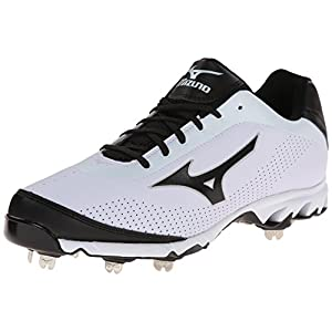 Mizuno Men's Vapor Elite 7 Low Baseball Cleat,White/Black,12 M US