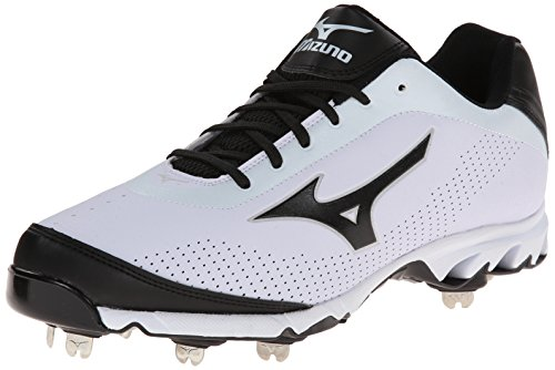 Mizuno Men's Vapor Elite 7 Low Baseball Cleat,White/Black,10.5 M US Athletic Baseball Cleats
