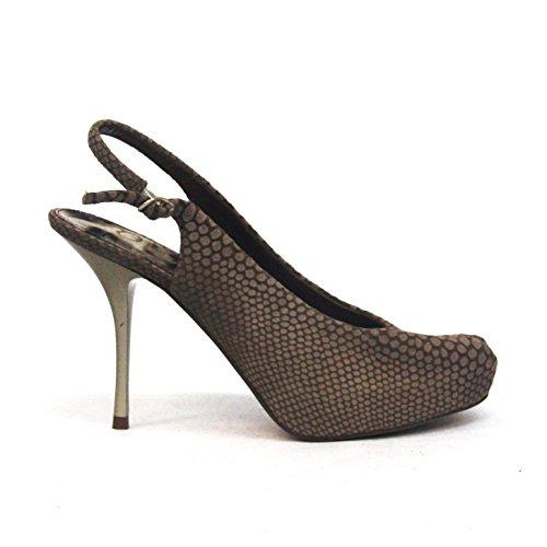 Sam diseño de Leigh Ann Tennant parte trasera abierta Edelman de pista de diseño de tacones, ante, estándar del Reino Unido 3,5, de £149 negro - Toasted-light-brown