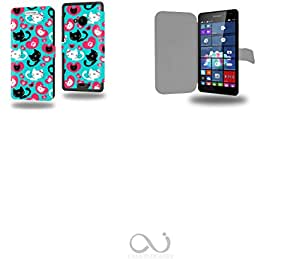 Chat plein d amour avec coeur Collection Pattern Funda de Cuero para Microsoft Lumia 535 Flip Case Cover (Estuche) PU Cuero - Accesorios Case Industry Protector