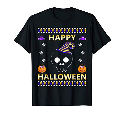 FUNNY BLACK SKULL UGLY HALLOWEEN COSTUME PARTY GIFTS T SHIRT