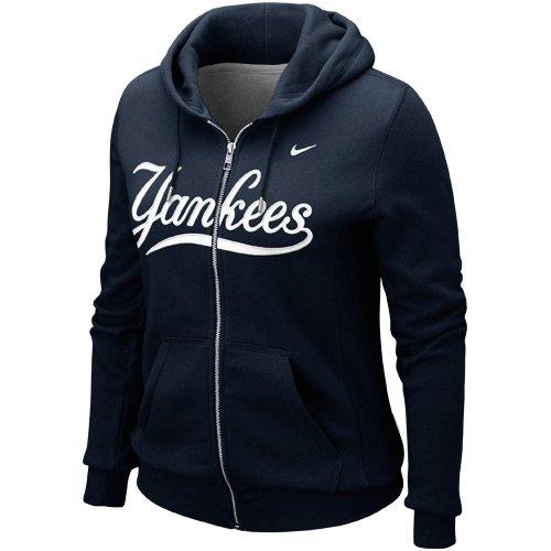 Nike Women's New York Yankees MLB Classic Full Zip Hoodie Sweater (XL, Navy Blue)