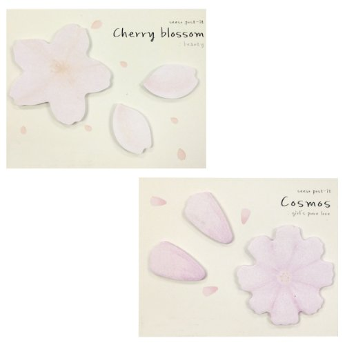 Wrapables Sticky Notes, Cherry Blossom and Floral, Set of 2
