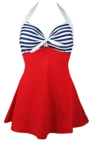 Cocoship Red & Navy Blue White Striped Vintage Sailor Pin Up Swimsuit One Piece Skirtini Cover Up Swimdress M(FBA)