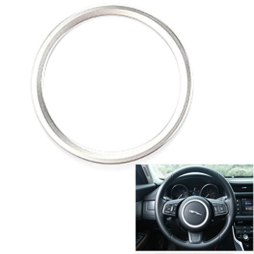 Premium Aviation Aluminum Alloy Car Steering wheel decoration ring sticker Decals Fits Jaguar XE XFL F-PACE F-TYPE/XF (Silver) by KMT