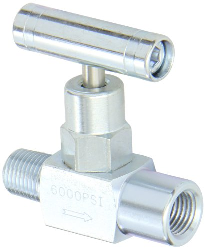 """PIC Gauge NV-CS-1/4-GS-180-MXF Carbon Steel Straight Needle Valve with Gas Service Seat, 1/4"""" Male NPT x 1/4"""" Female NPT Connection Size, 6000 psi Pressure"""