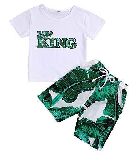 - Younger star Baby Boys Girls Short Sleeve Shady Beach Glasses Shirt Summer Clothes and Palm Shorts Set (White King, 12-24 Months)