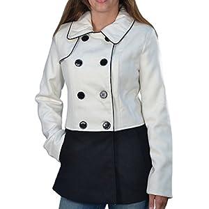 STEVE MADDEN Women's Colorblock Peacoat Jacket Coat-Ivory/Black-Medium