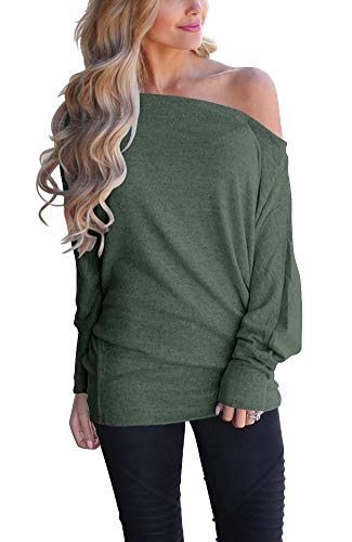 - LACOZY Women's Sexy Off Shoulder Tops Long Sleeve Loose Oversized Pullover Sweater Knit Jumper Green Medium