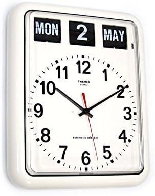 twemco Homeloo German Quartz Retro Modern Calendar Wall Flip Clock BQ12A white