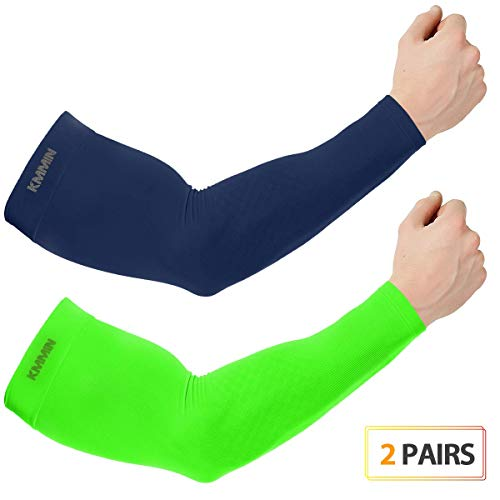 KMMIN Arm Sleeves, UV Protection Sleeves for Driving Cycling Golf Basketball Warmer Cooling Arm Sleeves UPF 50 Sunblock Protective Gloves for Men Women Adults Covering Tattoos(Navy+Green)