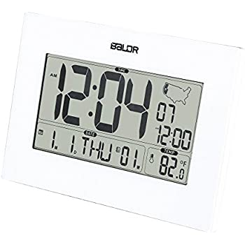 BALDR Digital Atomic Desk Wall Alarm Clock with Thermometer & Calendar, Battery Operated, Auto Self Setting, Large Display Indoor Temperature Gauge Month ...