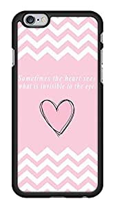 Love Heart Quote Pink Chevron Zig Zag Snap-On Cover Hard Plastic Case for iPhone 6 (Black)
