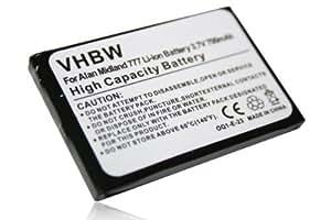 vhbw BATERÍA LI-ION 700mAh 3.7V compatible con ALAN 777, Midland 777, PMR446, PMR446+ sustituye FB-777