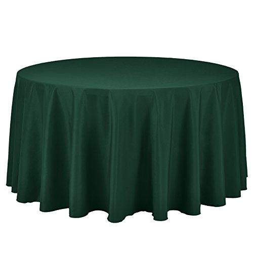 VEEYOO Round Tablecloth 100% Polyester Circular Bridal Shower Table Cloth - Solid Soft Dinner Table Cover for Wedding Party Restaurant (Hunter Green, 108 inch)