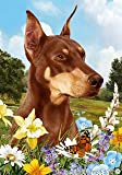 "Doberman Red Cropped Dog – Tamara Burnett Summer Flowers House Dog Breed Flag 28"" x 40"" For Sale"