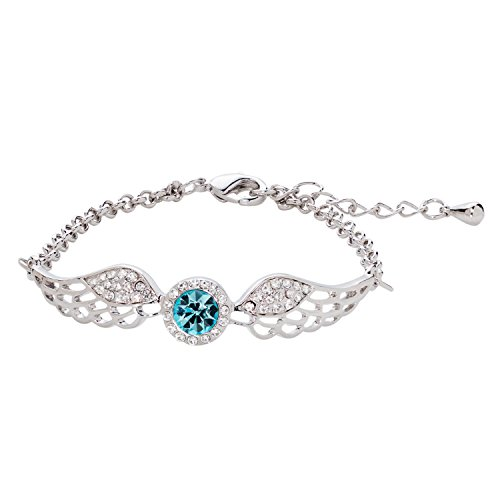 Angel Crystal Silver Bracelets - Suffolk Silver Bracelet for Women – Blue Crystal Bracelets for Ladies – Angel Wings Bracelet with a Blue Crystal – Chain Size 16+4 cm– Perfect Gift