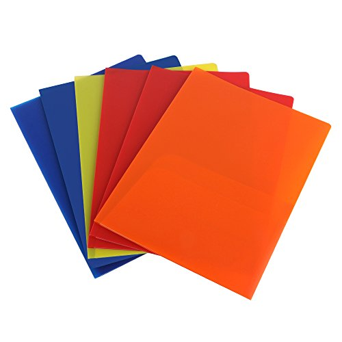 (Eagle Plastic Pocket Folder, Heavy Duty with 2 Pockets, Letter Size, Assorted Colors, Pack of 6 (2-Pocket Folder))