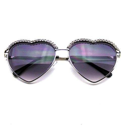 Cute Chic Heart Shape Glam Rhinestone Aviator Sunglasses - Heart Sunglasses Aviator
