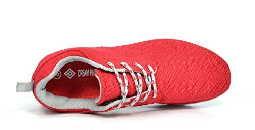 DREAM PAIRS 5003 Herren New Light Weight Go Leicht Walking Casual Sportlich Bequeme Laufschuhe Turnschuhe Runpro-rot / Grau