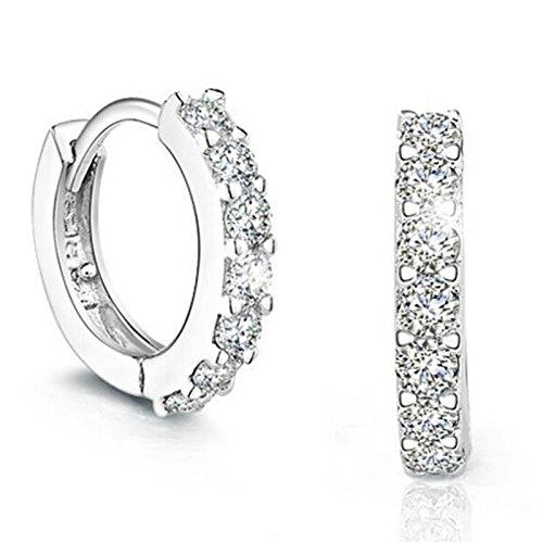 Hosaire Earrings Zircon Earrings Silver Plated Cubic Zirconia Stud Earrings for Womens Jewelry