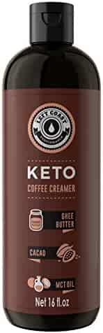 Keto Coffee Creamer HUGE 16oz bottle 32 Servings (Must Be Blended) - Zero Carb Butter Coffee Booster | Ghee Butter, Organic Coconut Oil, MCT Oil, Cacao Butter, | Keto, Paleo Friendly - Left Coast