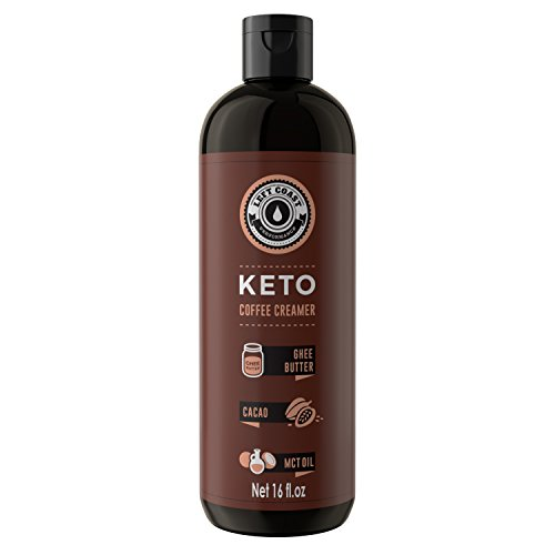 Keto Coffee Creamer (Cacao) Huge 16oz bottle 32 Servings (Must Be Blended) - Zero Carb Butter Coffee Booster | Ghee Butter, Organic Coconut Oil, MCT Oil, Cacao | Keto, Paleo Friendly - Left Coast