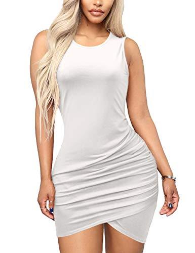 Ruched Dresses for Women - Sexy Sleeveless Tulip Hem Sheath Sundress X-Large White