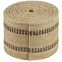 Jute Webbing, 3.50 Inches x 8 yards - Natural with Black Stripes