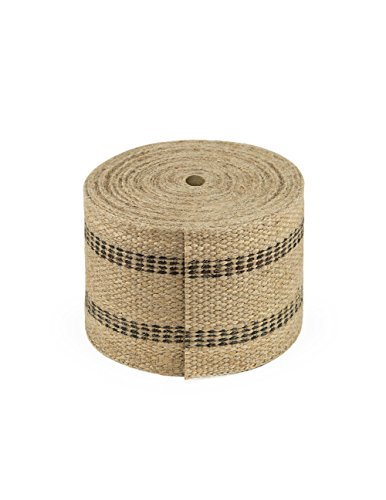 Cleverbrand Jute Webbing, 3.50 Inches x 8 Yards - Natural with Black Stripes