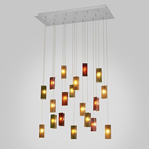 - 19 Autumn Leaves Drops Led Rectangular Chandelier.Powder Coated Metal in Flat White/Sparkle Silver. Handmade by AM Studio