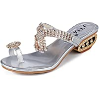DENER Women Girls Ladies Summer Square Heels Slippers Moccasins,Open Toe Rhinestones Indoor Outdoor Beach Sandals