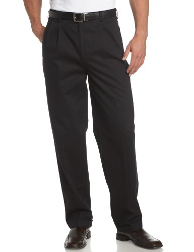 Savane Men's Pleated Deep Dye Twill Pant, Black, 36W 34L