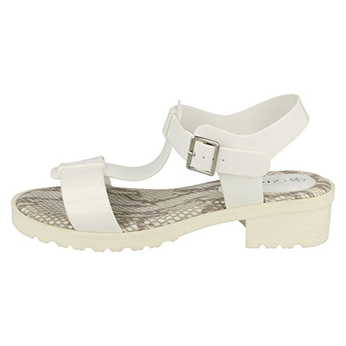Sandal White T Spot On Bar Jelly Mittelferse Damen Ya6qwS