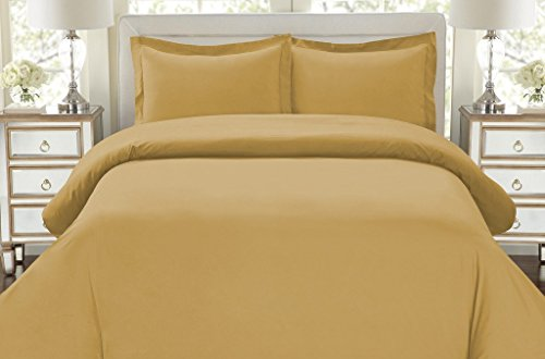 Hotel Luxury 3pc Duvet Cover Set-ON SALE TODAY-1500 Thread Count Egyptian Quality Ultra Silky Soft Top Quality Premium Bedding Collection, 100% Money Back Guarantee -Queen Size Camel