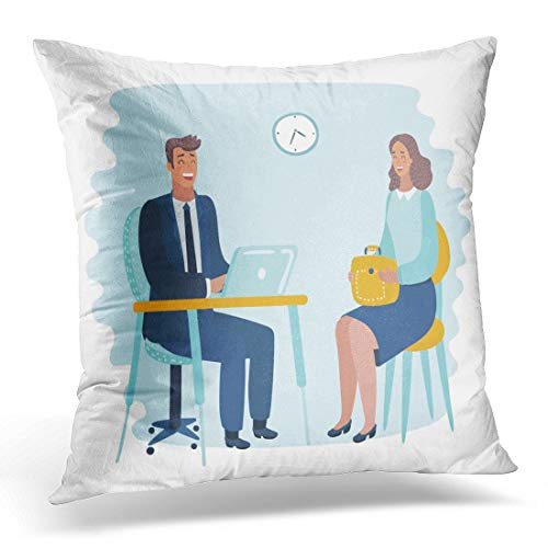 Emvency Throw Pillow Covers Case Timid Man at Hated Work with Too High Demands Suffers from Humiliations Rebukes and Attacks of His Angry Decorative Pillowcase Cushion Cover 20 x 20 Inches