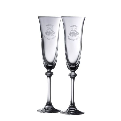Galway Crystal Happy Anniversary Liberty Flutes (1 Pair), (Irish Anniversary Gifts)