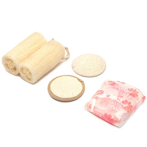 Bath Exfoliating Set - Kozyard CathyCare Professional and Luxury Set of 2 Loofah Scrubbers, 2 Exfoliating Loofah Pads and 1 Free Bath Hat (5PCs Suite)